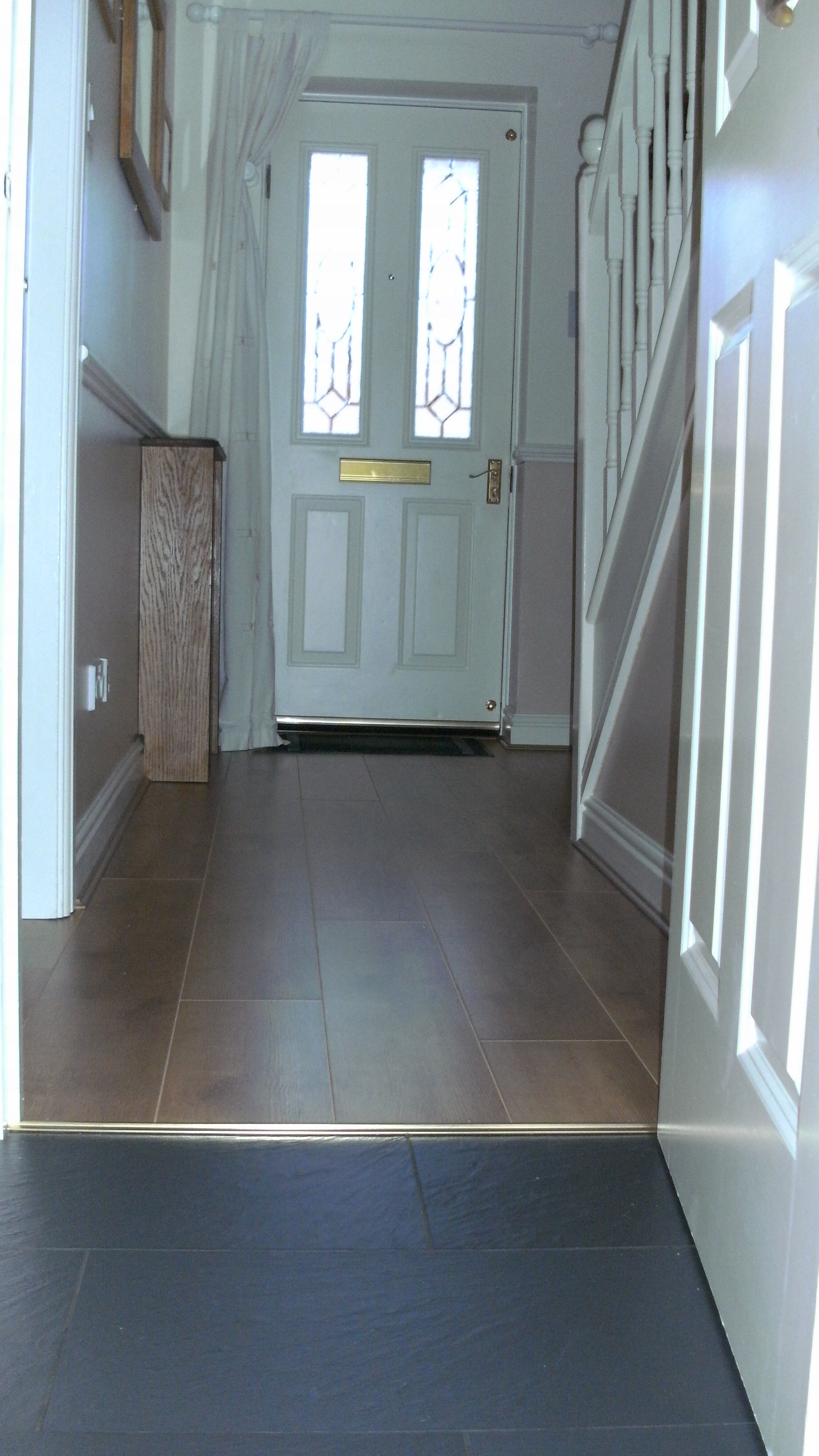 Laminate and tiled floor